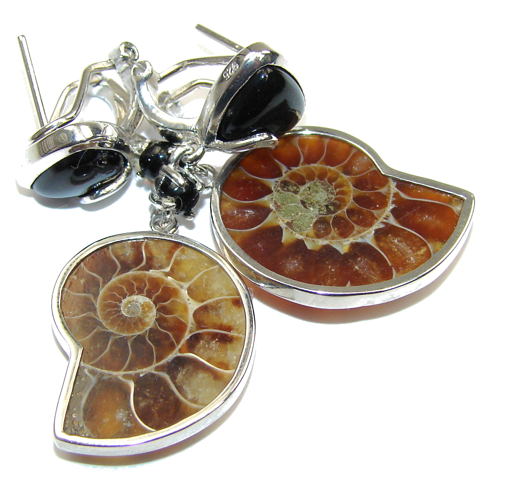 Amazing Shell Ammonite Fossil & Onyx Sterling Silver earrings