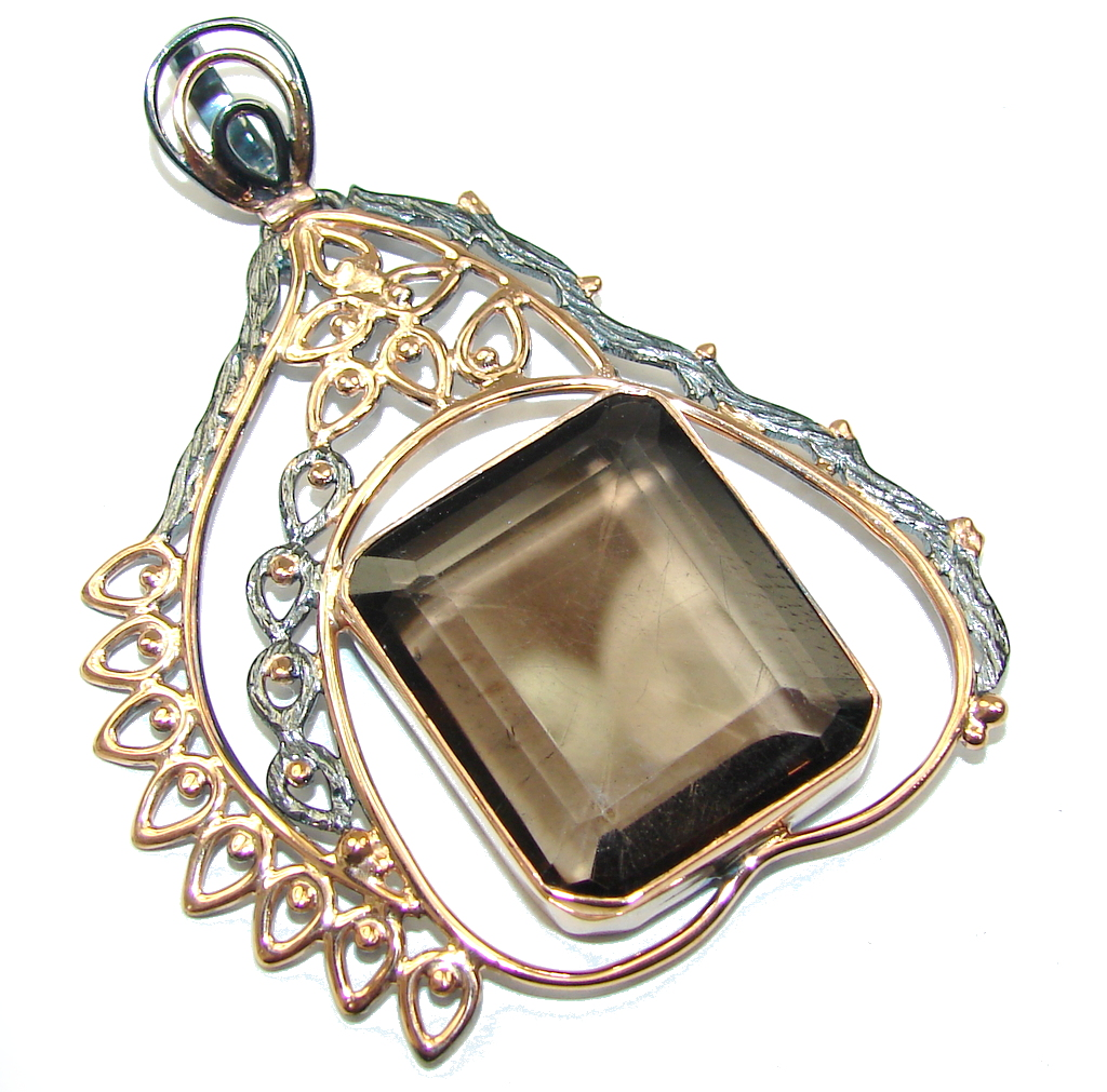 Genuine AAA Brown Smoky Topaz, Rose Gold Plated, Rhodium Plated Sterling Silver Pendant