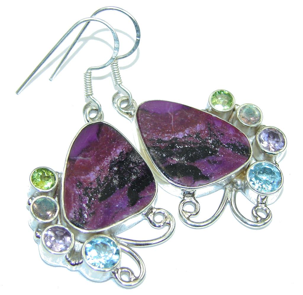 Excellent Design  Purple Turquoise Multigem Sterling Silver