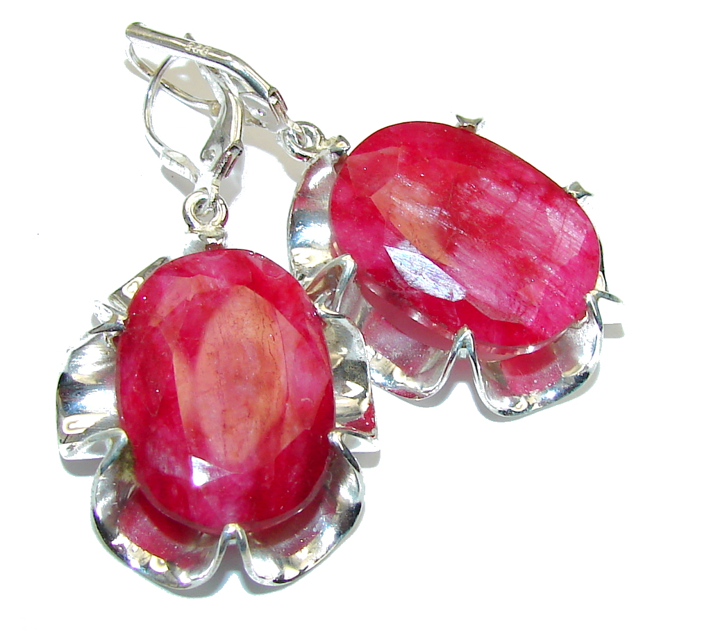 Natural Beauty Pink Ruby Sterling Silver earrings