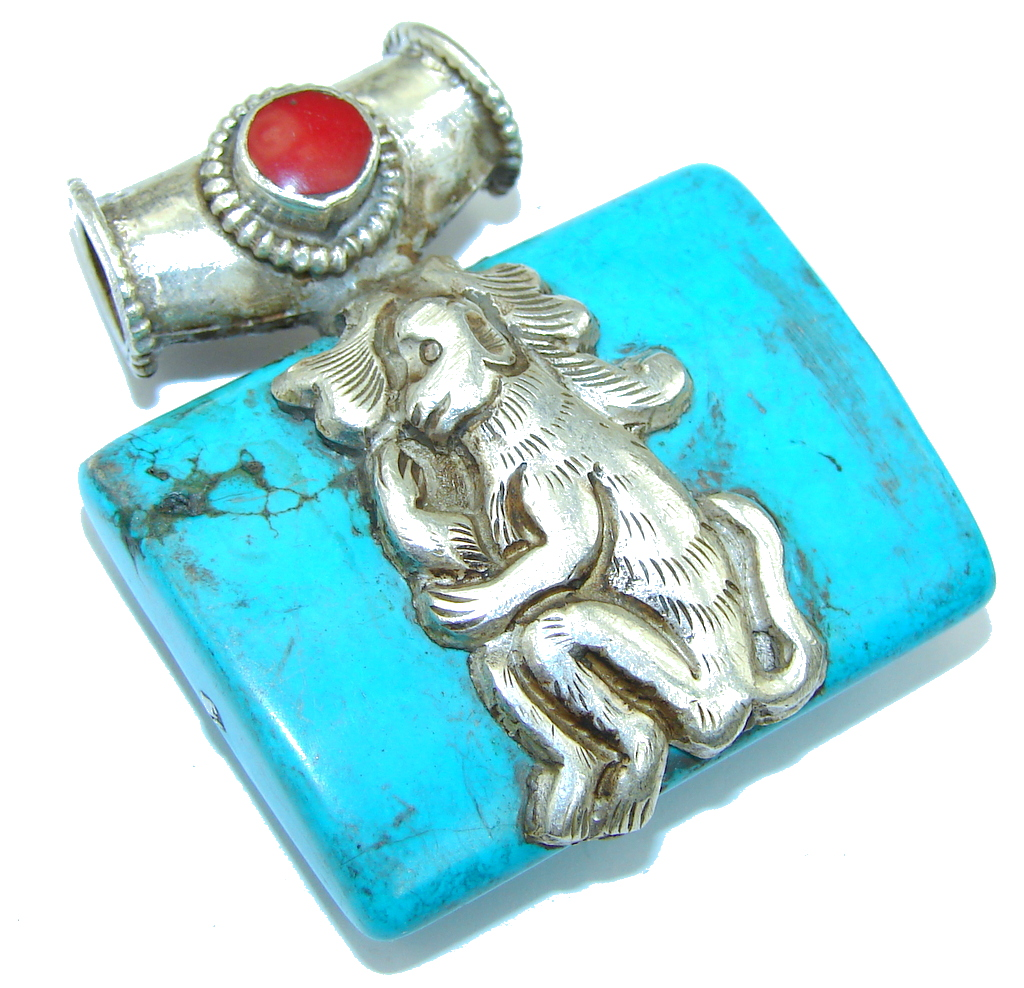 Vintage Style Blue Monkey Turquoise and Coral Sterling Silver Pendant