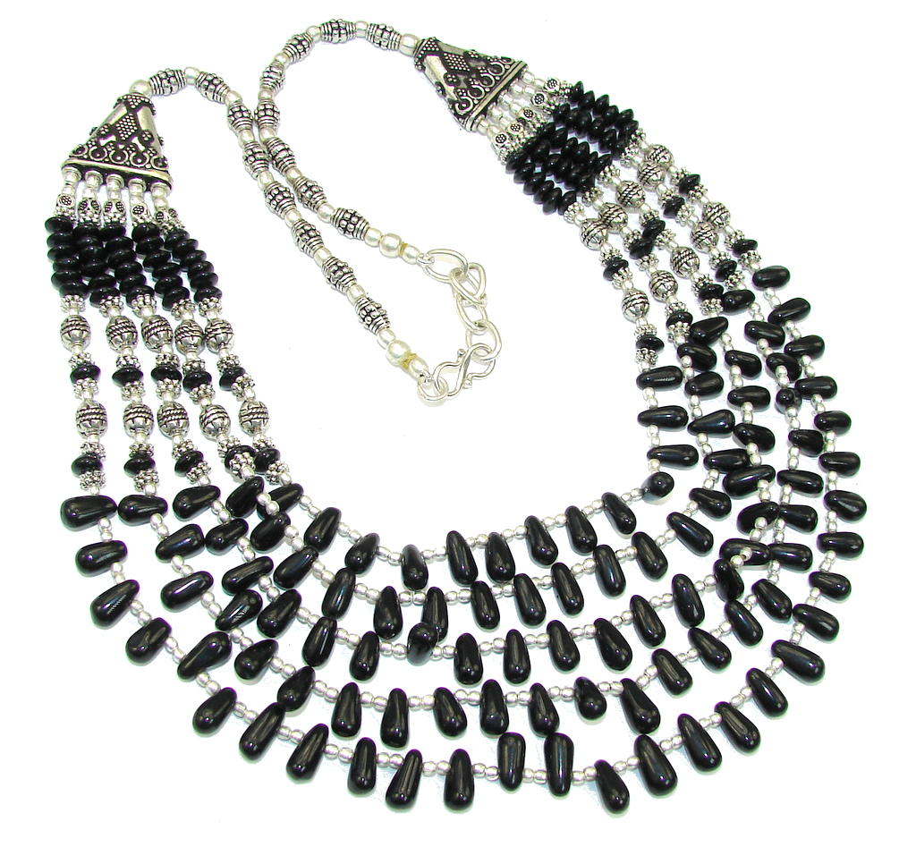 Black Whisper!! Created Black Onyx Sterling Silver necklace