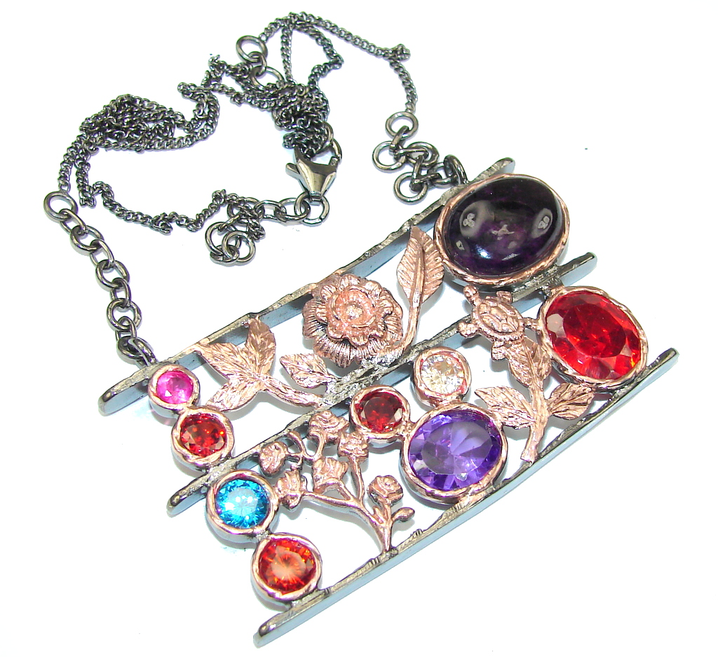 Exclusive Design! Black Onyx & Multicolor Quartz, Rose Gold Plated, Rhodium Plated Sterling Silver necklace