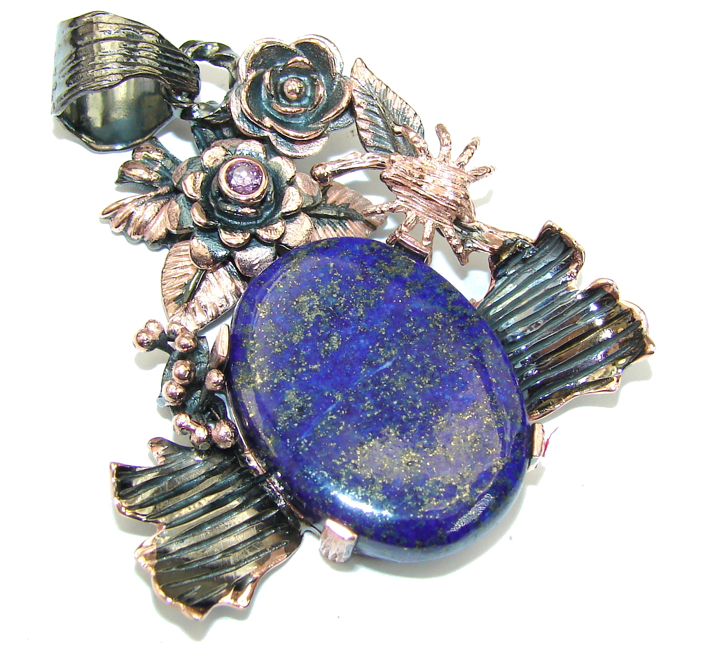 Beautiful AAA Blue Lapis Lazuli & Amethyst, Rose Gold Plated, Rhodium Plated Sterling Silver Pendant