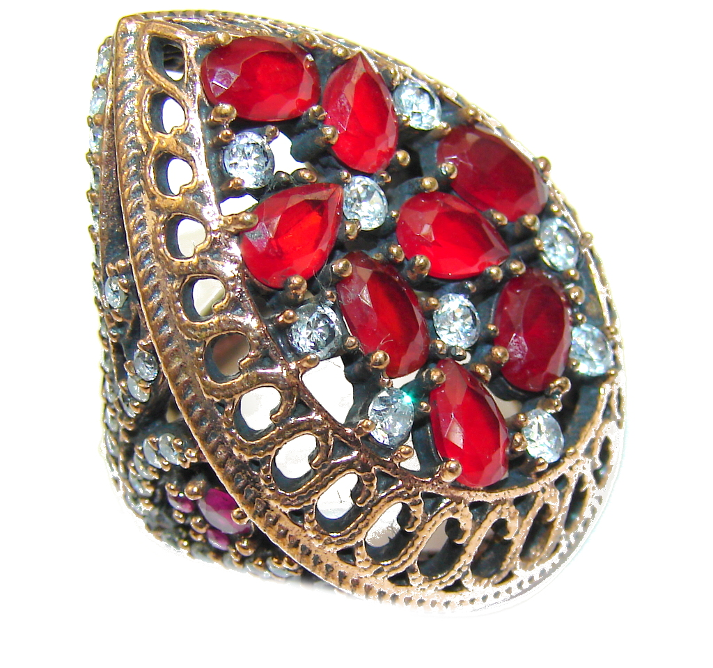 Victorian Style! Red Ruby & White Topaz Sterling Silver Ring s. 7