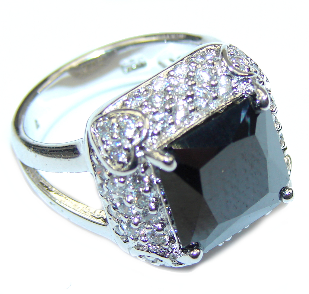 Just Perfect! Silver Hematite & White Topaz Sterling Silver ring s. 6 1/2