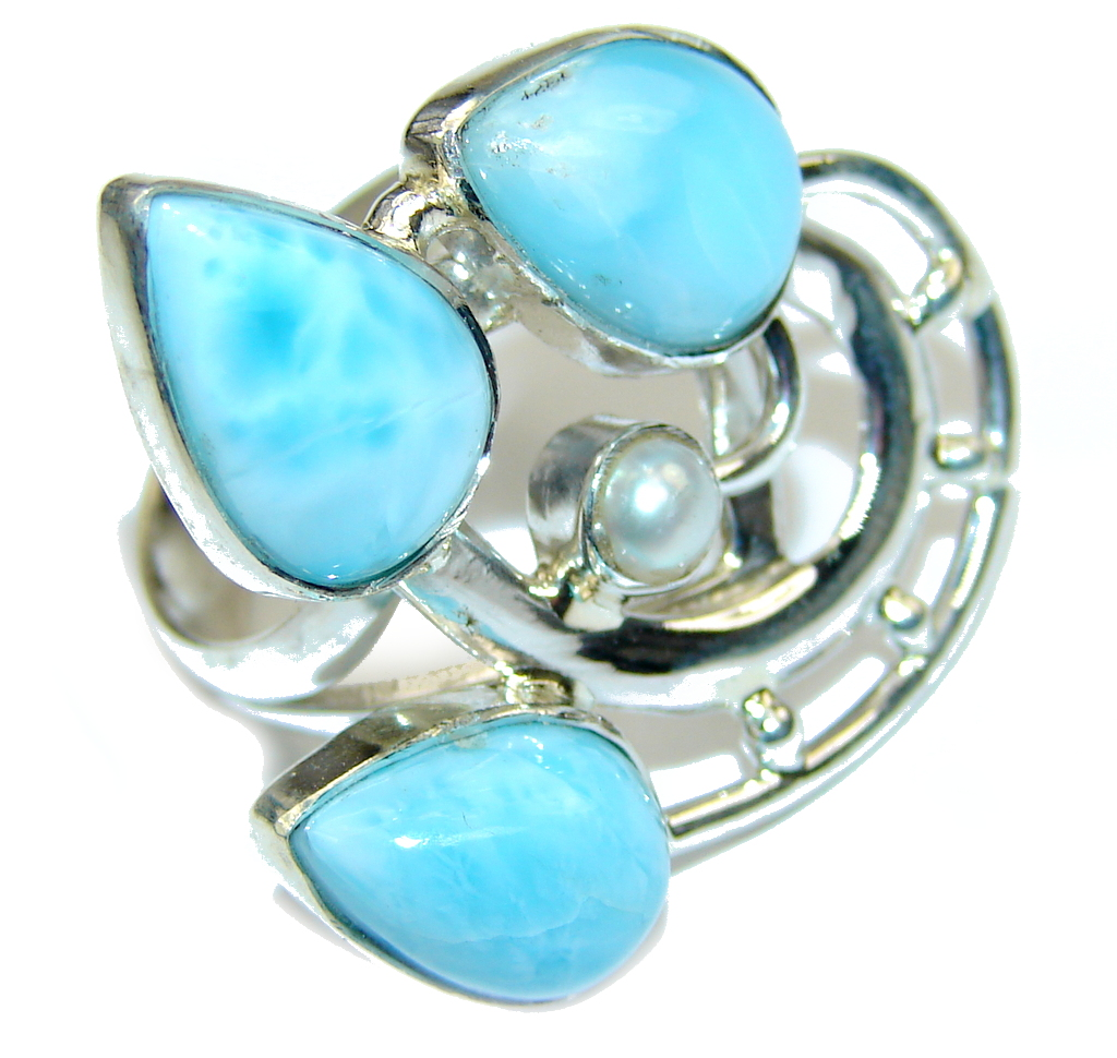 jewelpearl.com Delicate AAA Blue Larimar & Fresh Water Pearl Sterling Silver Ring s. 7 1/2