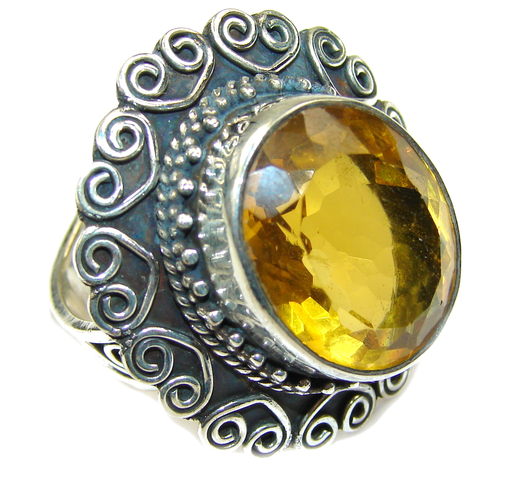 Big! Bali Secret Yellow Citrine Quartz Sterling Silver Ring s. 9 1/4