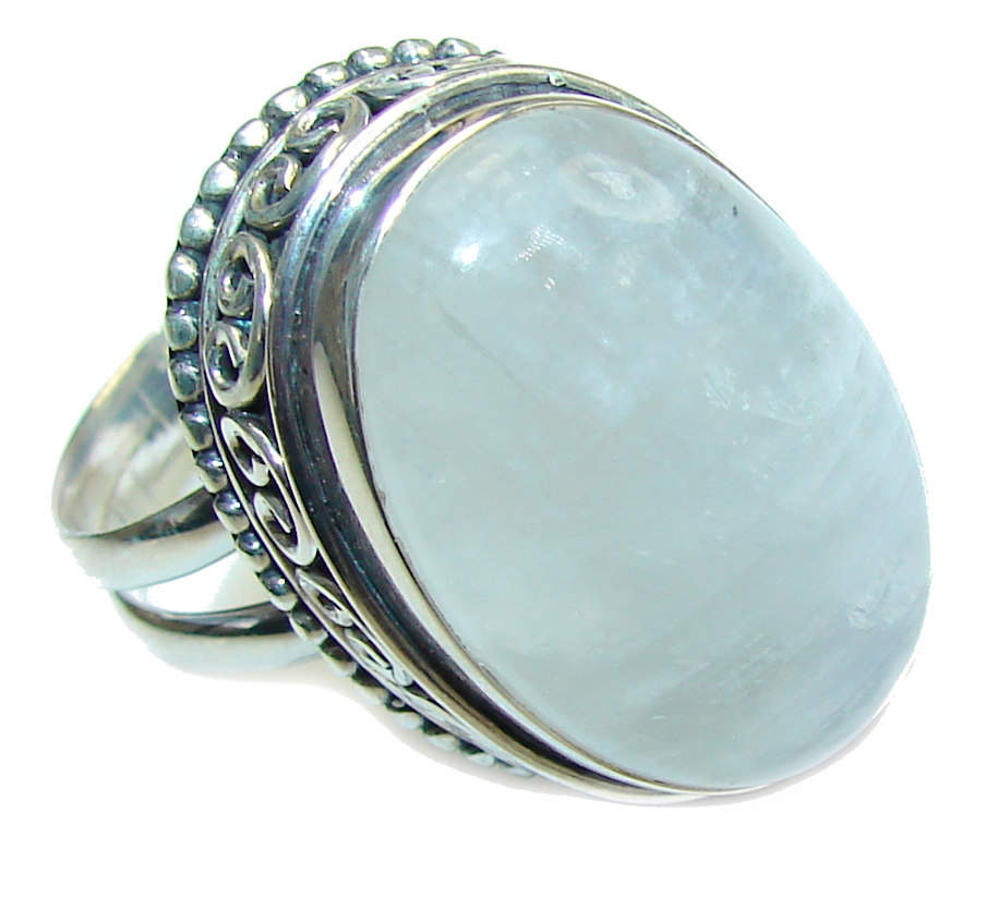 Big! Just Perfect! AAA White Moonstone Sterling Silver Ring s. 11