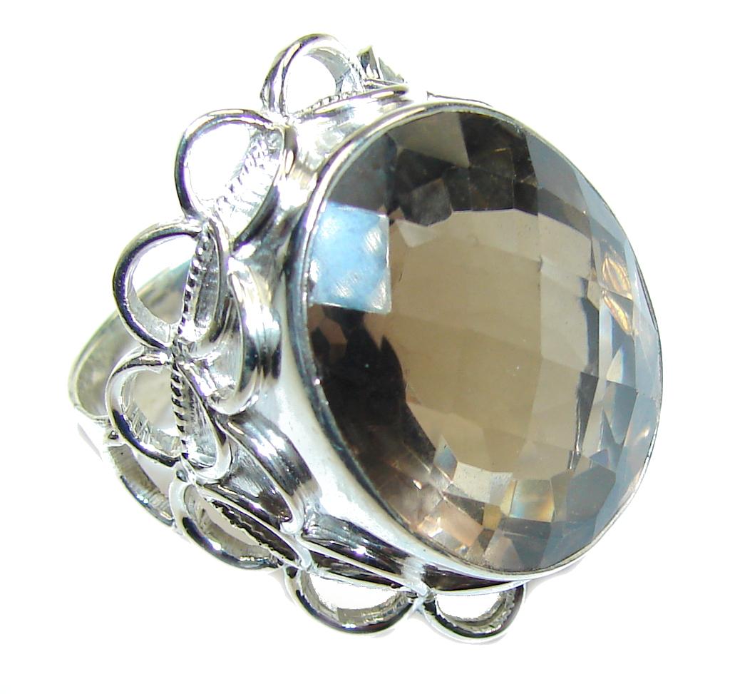 Big! Bali Secret! Smoky Topaz Sterling Silver ring s. 11