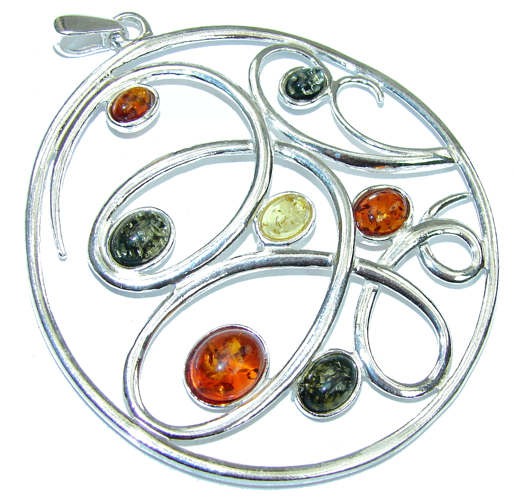 Big! Multicolor Baltic Polish Amber Sterling Silver Pendant