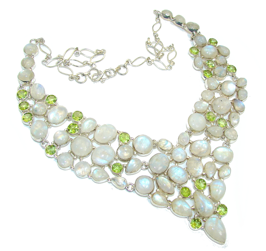 Chunky Snow Queen White Fire Moonstone & Peridot Sterling Silver necklace