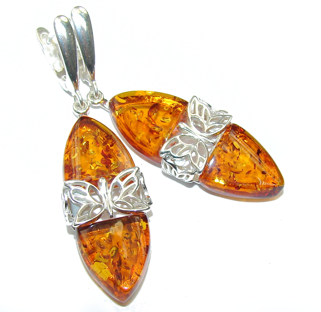 Natural Beauty! Baltic Polish Amber Sterling Silver Earrings