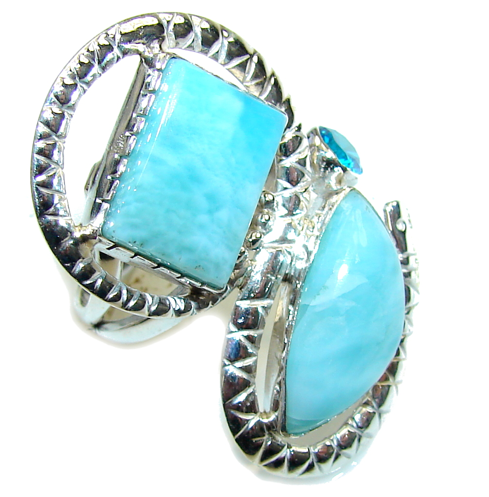 Amazing! AAA Blue Larimar & London Blue Topaz Sterling Silver Ring s. 9 1/2