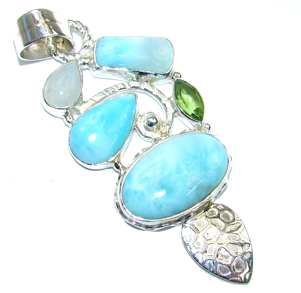 Exotic Style! AAA Blue Larimar & Peridot & Moonstone Sterling Silver Pendant