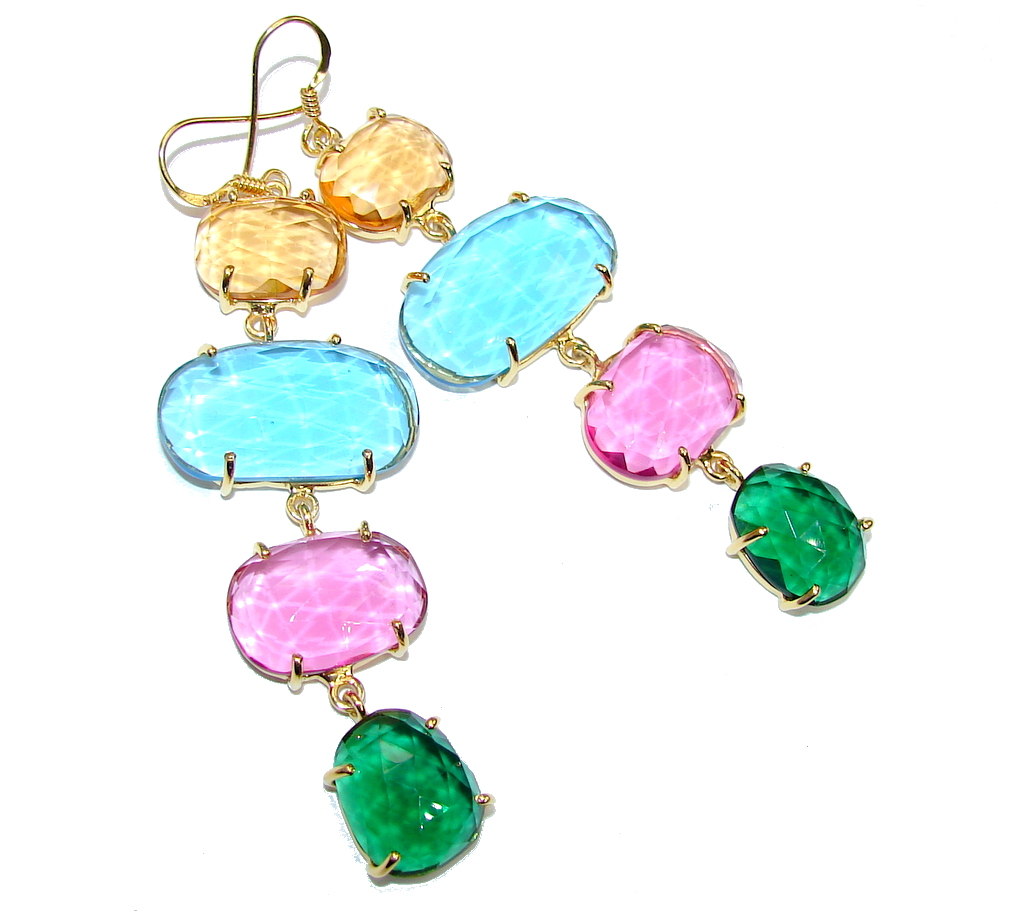 Beautiful! Multicolor Quartz, 18K Gold Plated Sterling Silver earrings / Long