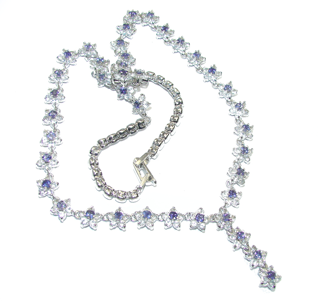 Luxury Floral Design Purple Iolite & White Topaz Sterling Silver necklace