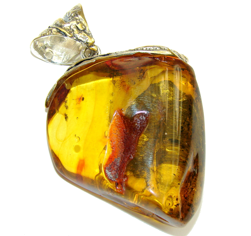 Huge Amber Real Time Capsule  Two Tones Sterling Silver Pendant