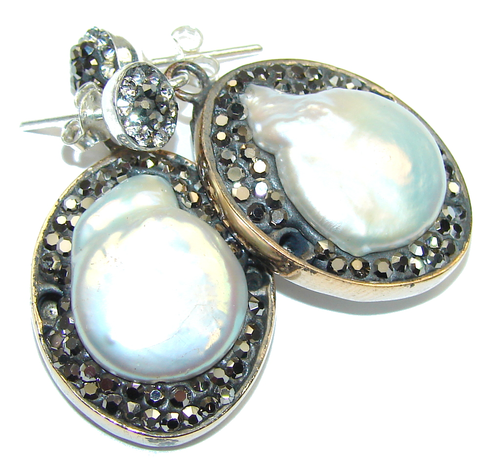 Classic Design! Mother Of Pearl & White Topaz & Marcasite Sterling Silver earrings