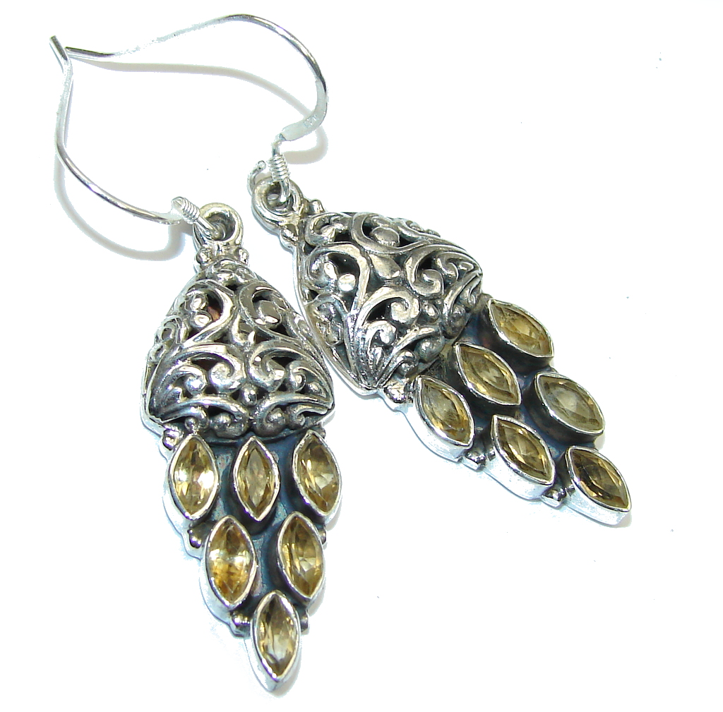 Bali Secret! Yellow Citrine Sterling Silver earrings