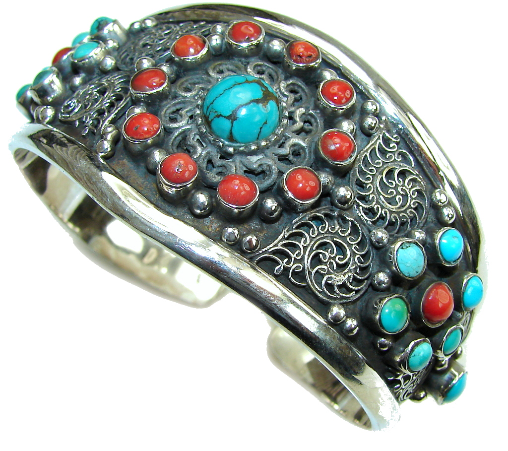 Fashion Design! Blue Turquoise & Coral Sterling Silver Bracelet / Cuff
