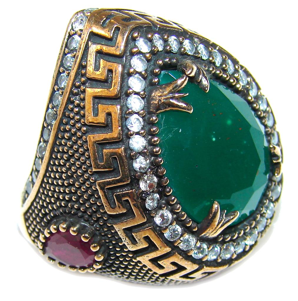 Victorian Design! Emerald & White Topaz Sterling Silver Ring s. 7 1/4