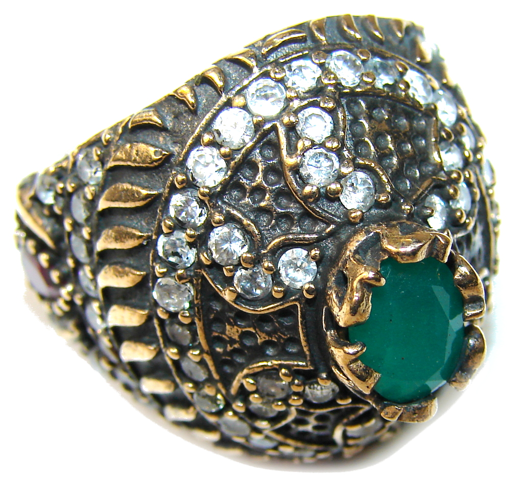 Victorian Style! Emerald & White Topaz Sterling Silver Ring s. 8 1/4