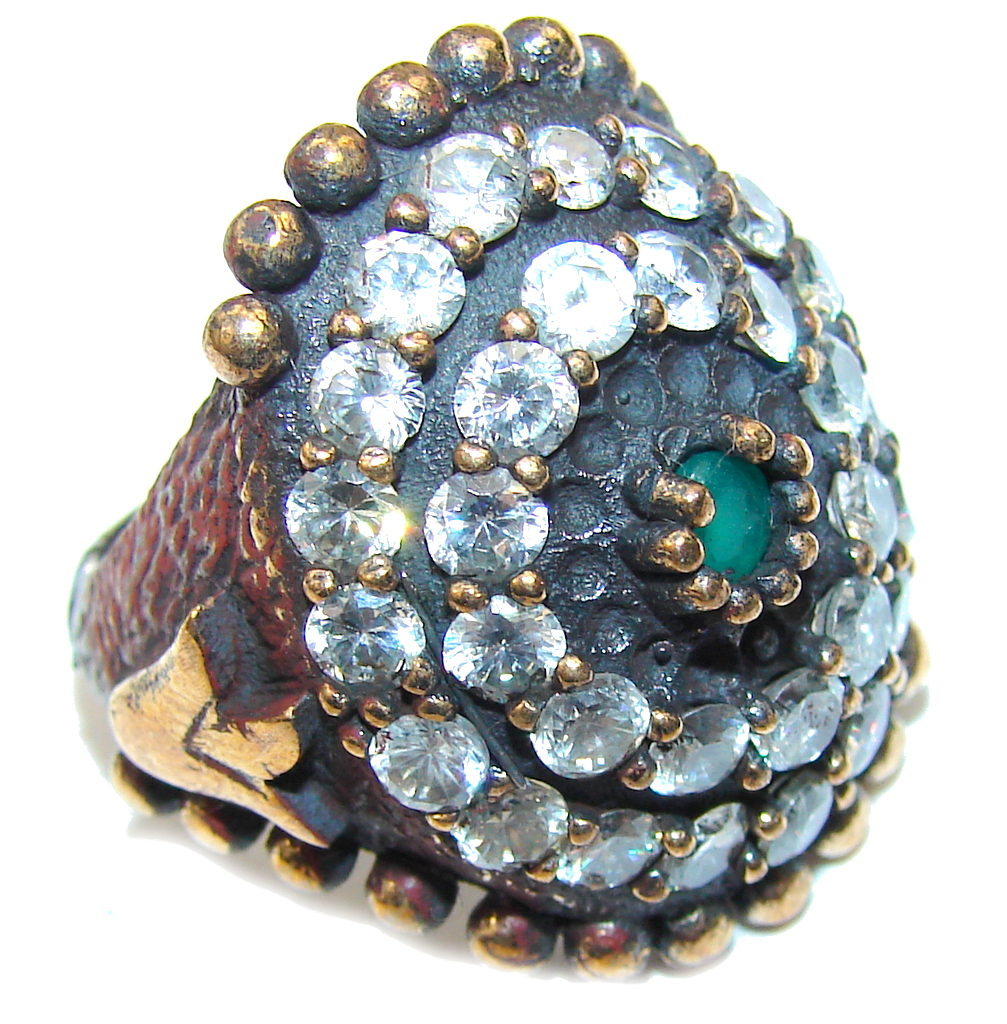 Victorian Style! Emerald & White Topaz Sterling Silver Ring s. 6
