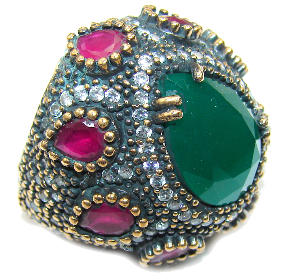 Victorian Style created Emerald & Ruby & White Topaz Sterling Silver Ring s. 7 1/4
