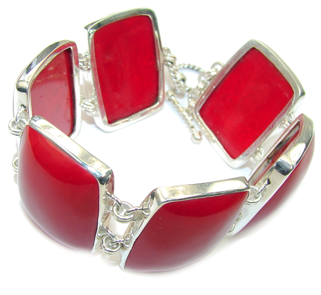Deep Love! Red Fossilized Coral Sterling Silver Bracelet