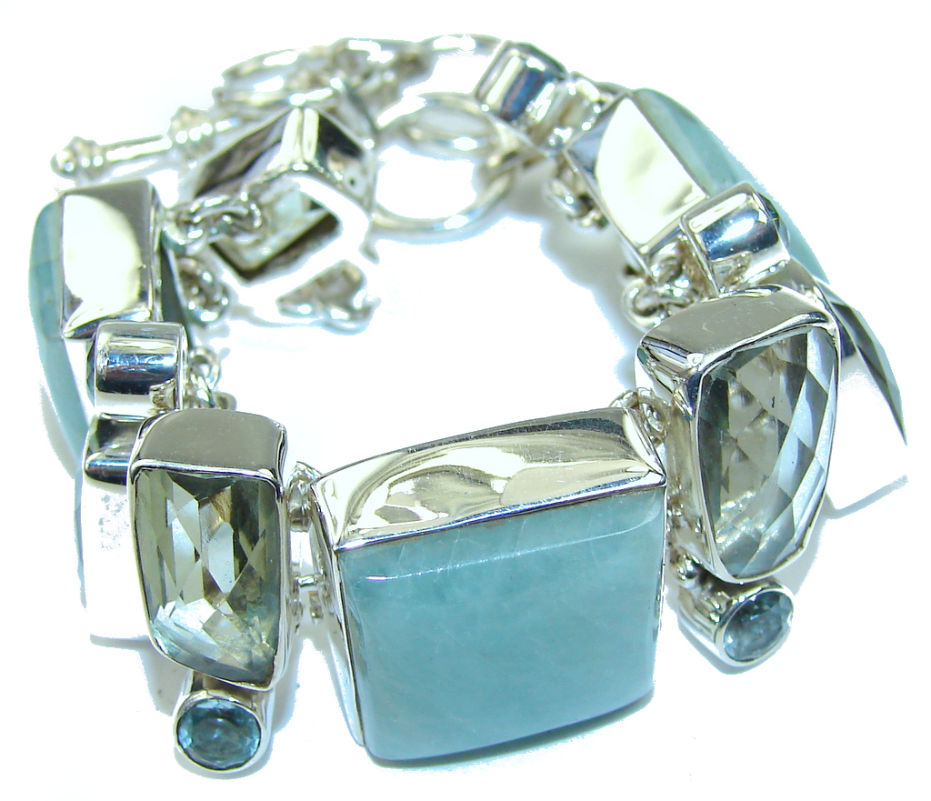 Powerful As A Meditation Stone! Light Blue Aquamarine Sterling Silver Bracelet