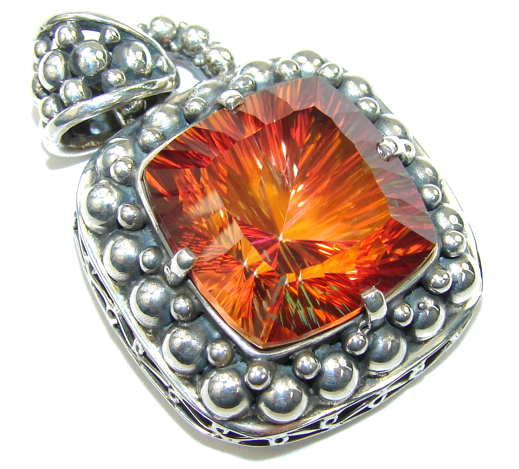 Bali Style Dramaitic Orange Magic Topaz Sterling Silver Pendant