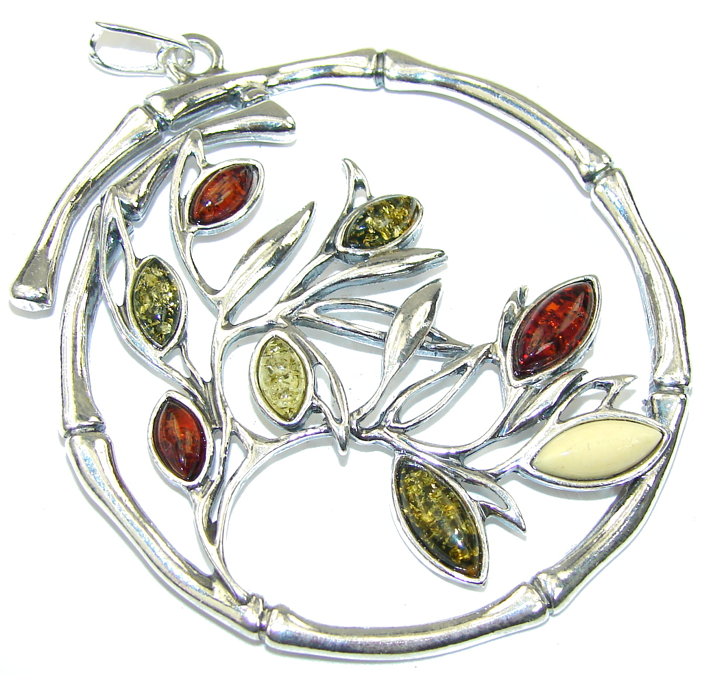 Big! Fashion Tree Baltic Polish Amber Sterling Silver Pendant