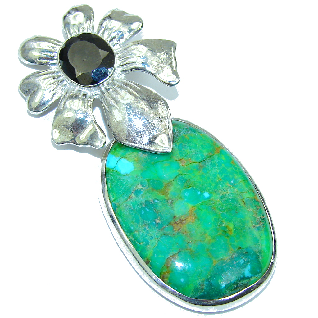 Big! Fresh Green Turquoise Sterling Silver Pendant