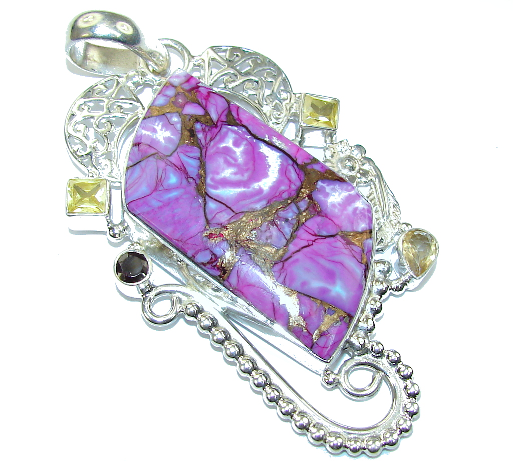 Big! Very Fancy  Purple Turquoise Sterling Silver Pendant