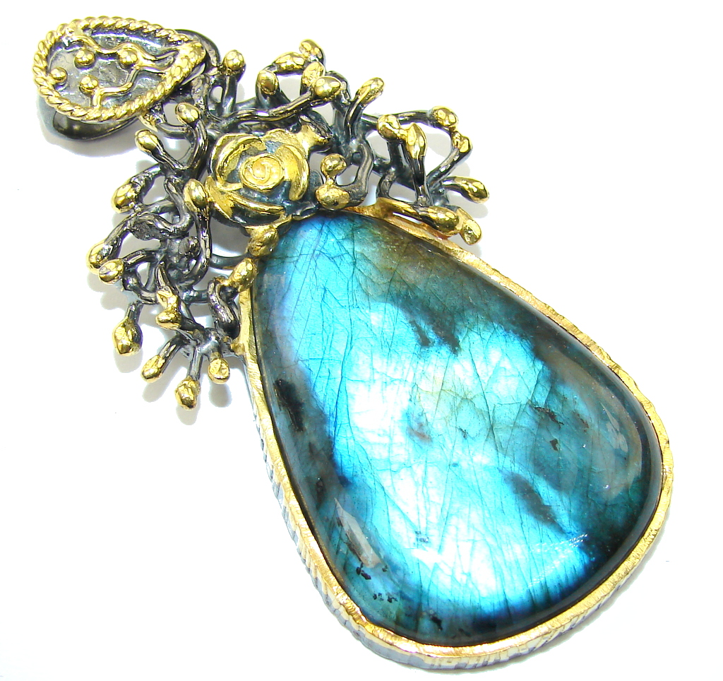 Exclusive AAA Blue Labradorite Rhodium Plated Gold Plated Sterling Silver Pendant