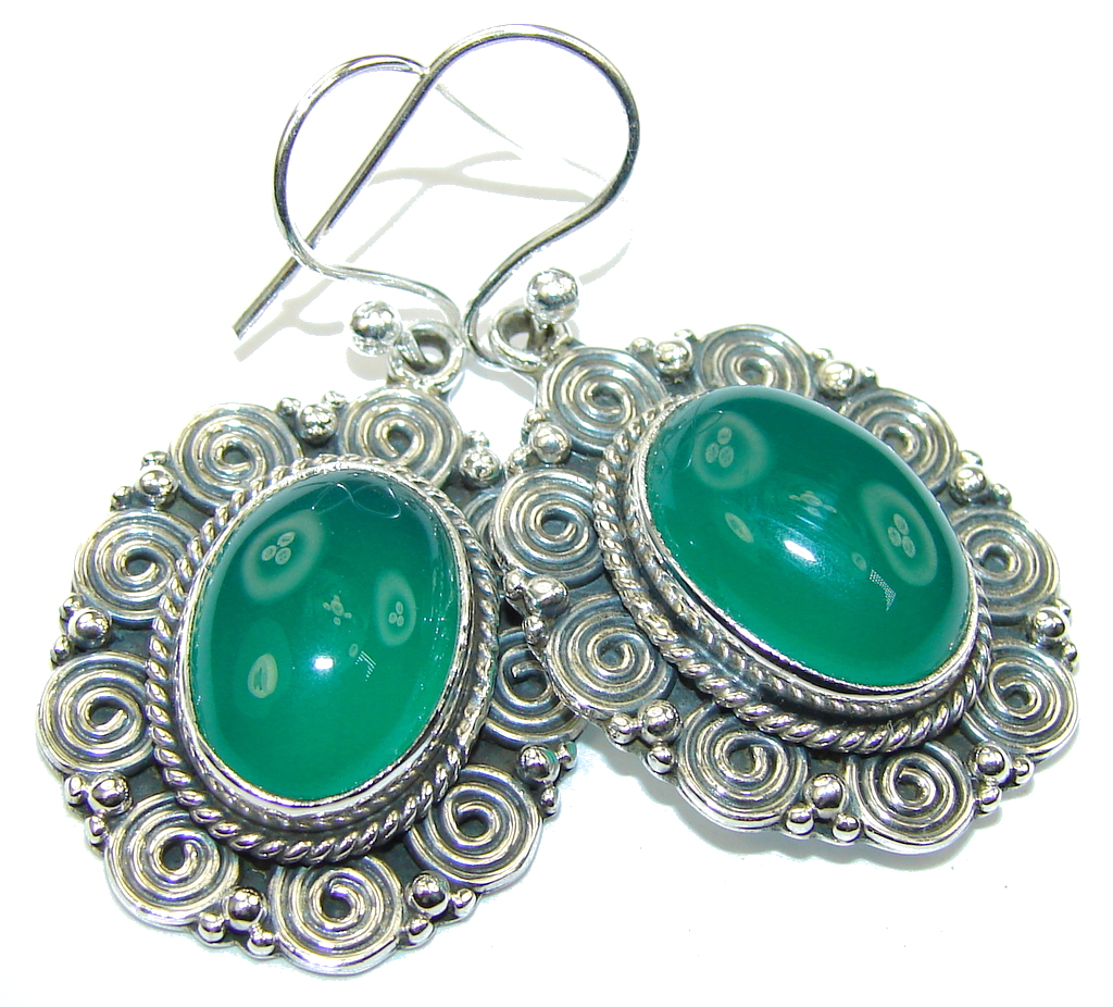 Green Love Agate Sterling Silver earrings