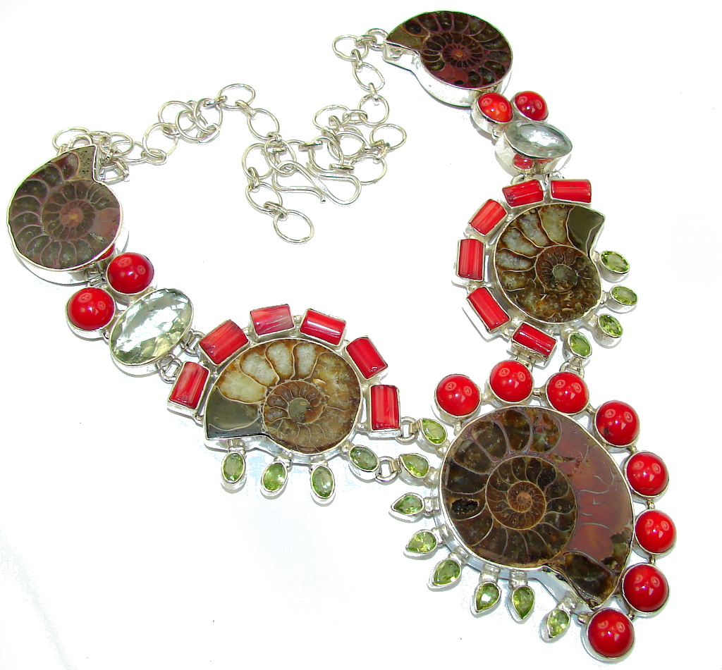 Very Unusual Fossilized Ammonite Fossil Sterling Silver necklace