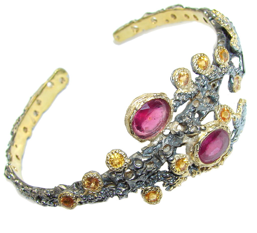 Natural AAA Pink Ruby & Citrine, Gold Plated, Rhodium Plated Sterling Silver Bracelet / Cuff