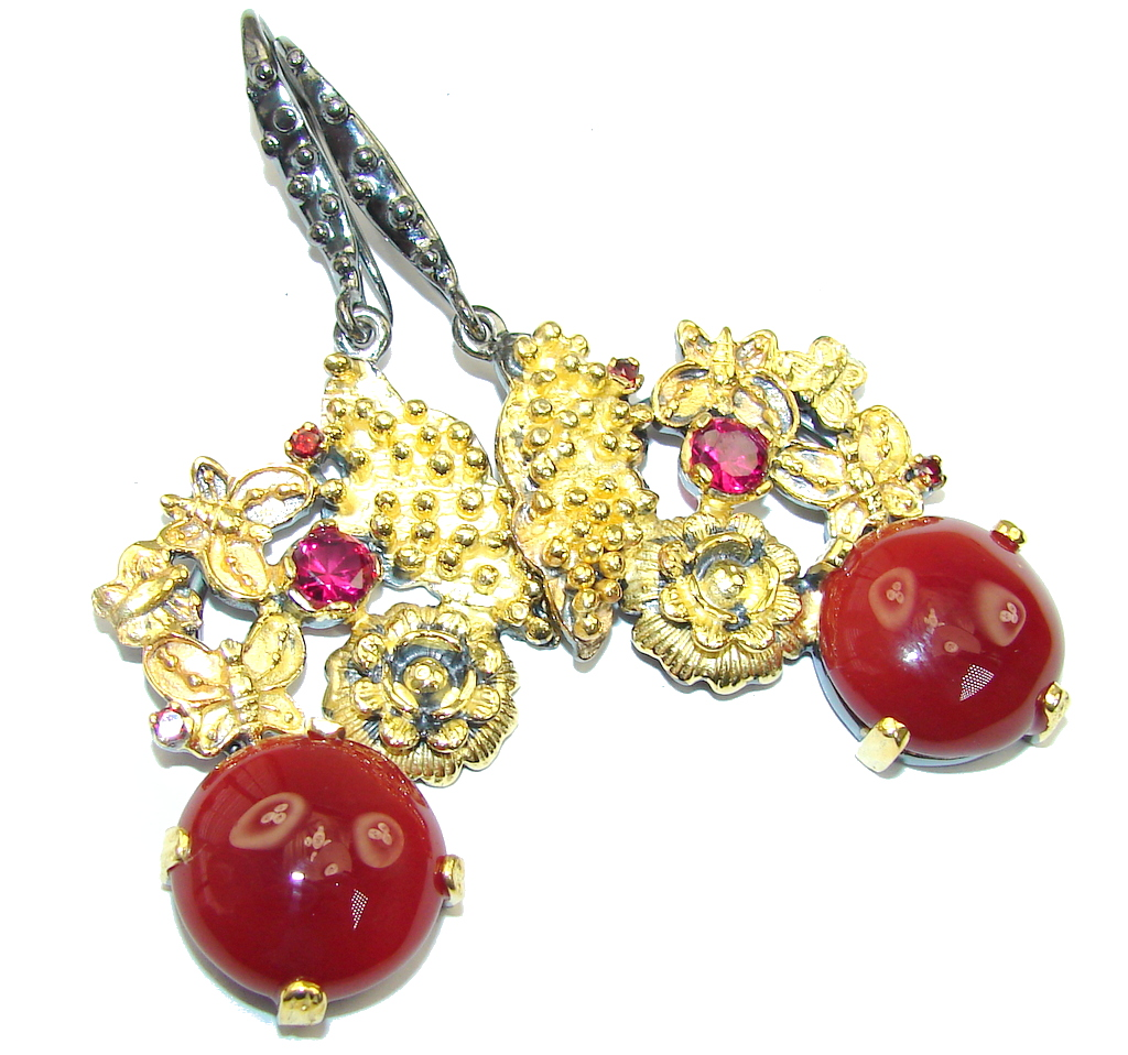Beautiful! AAA Brown Carnelian, Gold Plated, Rhodium Plated Sterling Silver earrings / Long