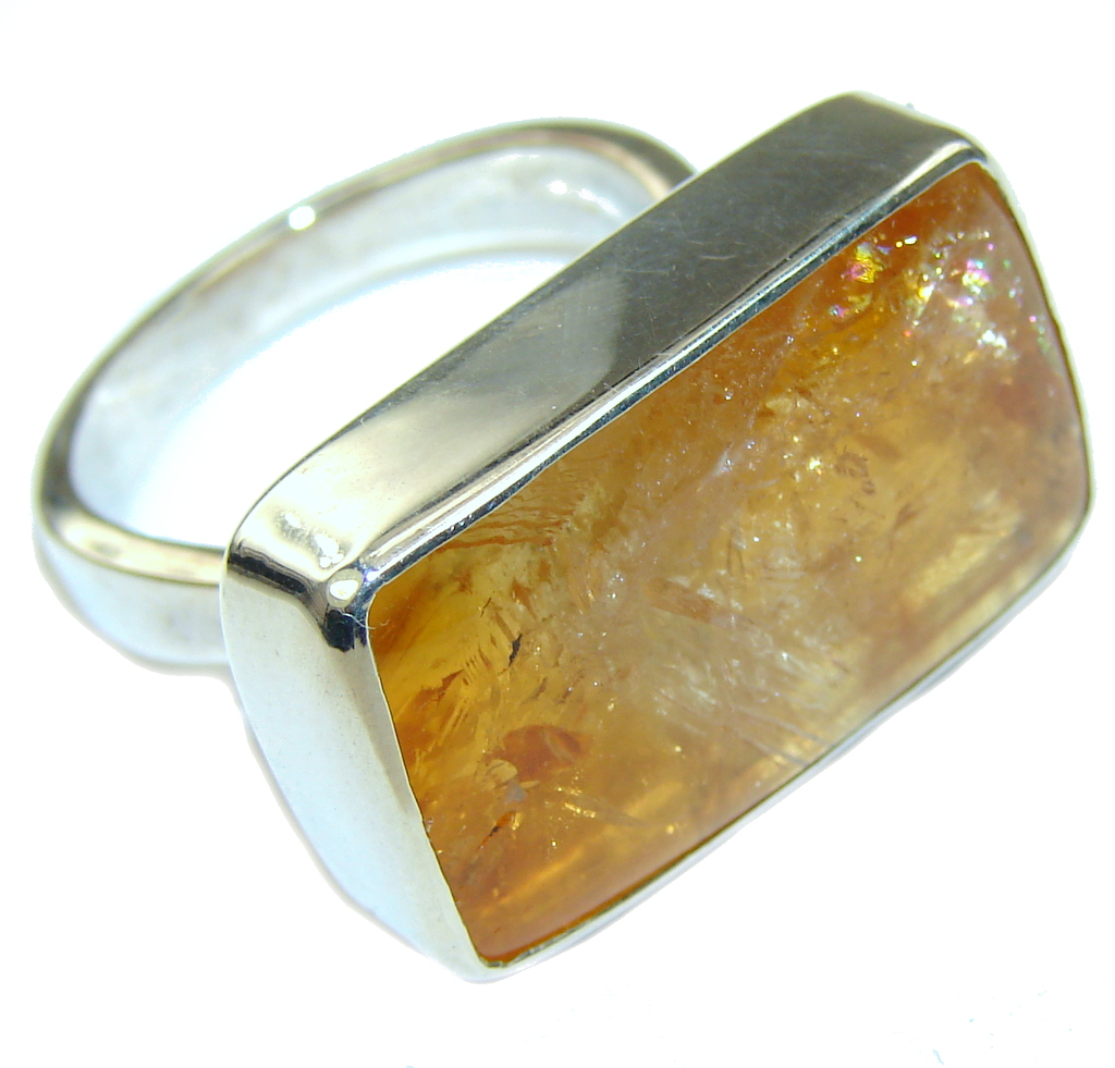 Amazing Golden Topaz Sterling Silver Ring s. 9