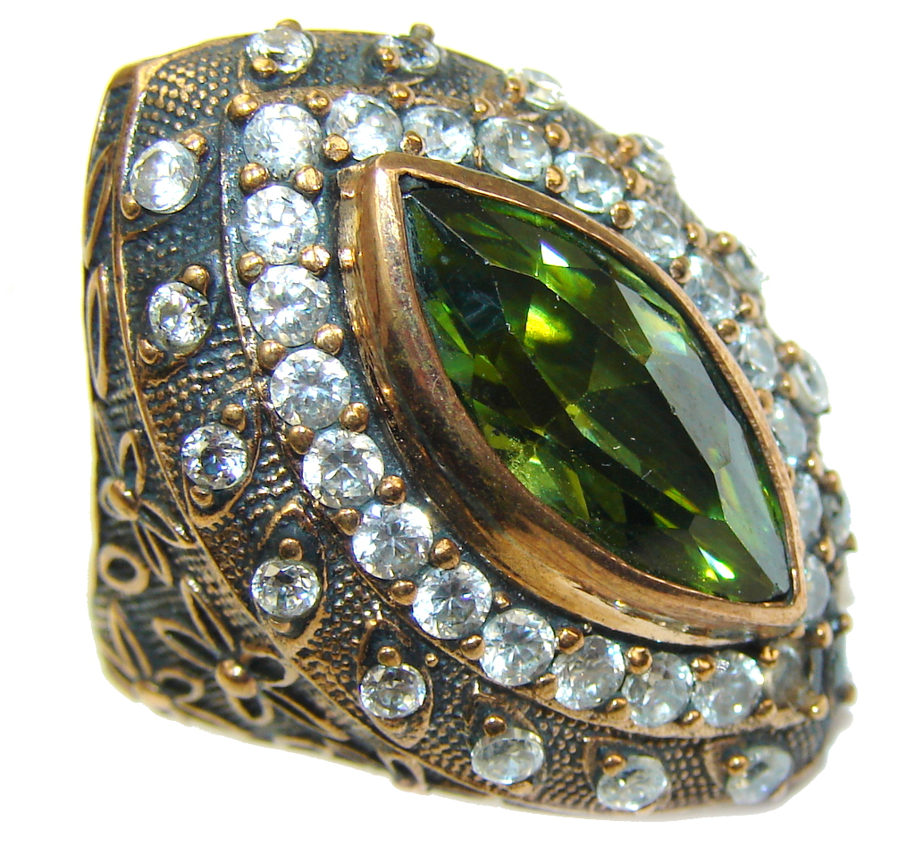Victorian Style! created Emerald & White Topaz Sterling Silver Ring s. 7 1/4