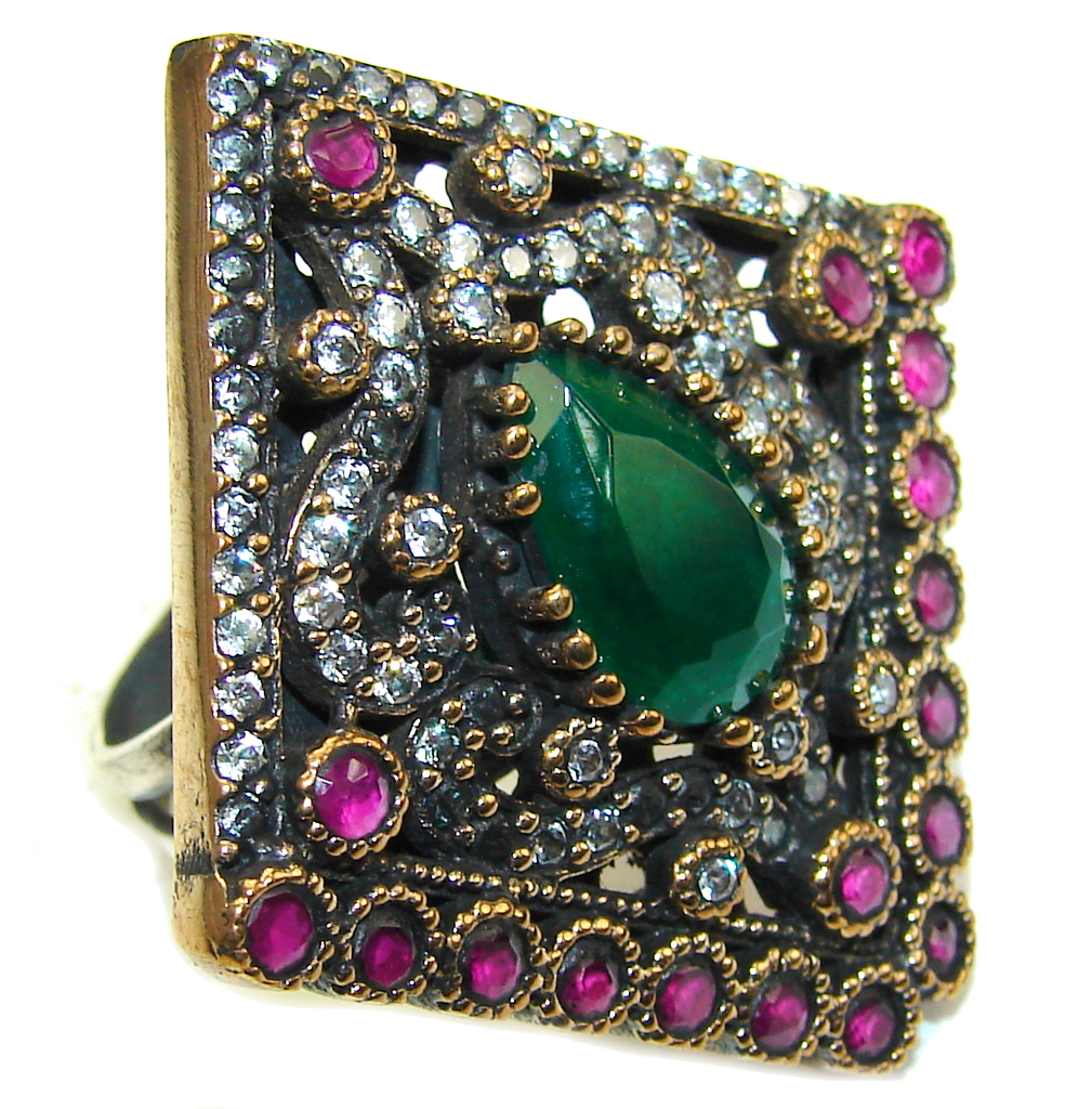 Victorian Style created Emerald & White Topaz Ruby Sterling Silver Ring s. 7