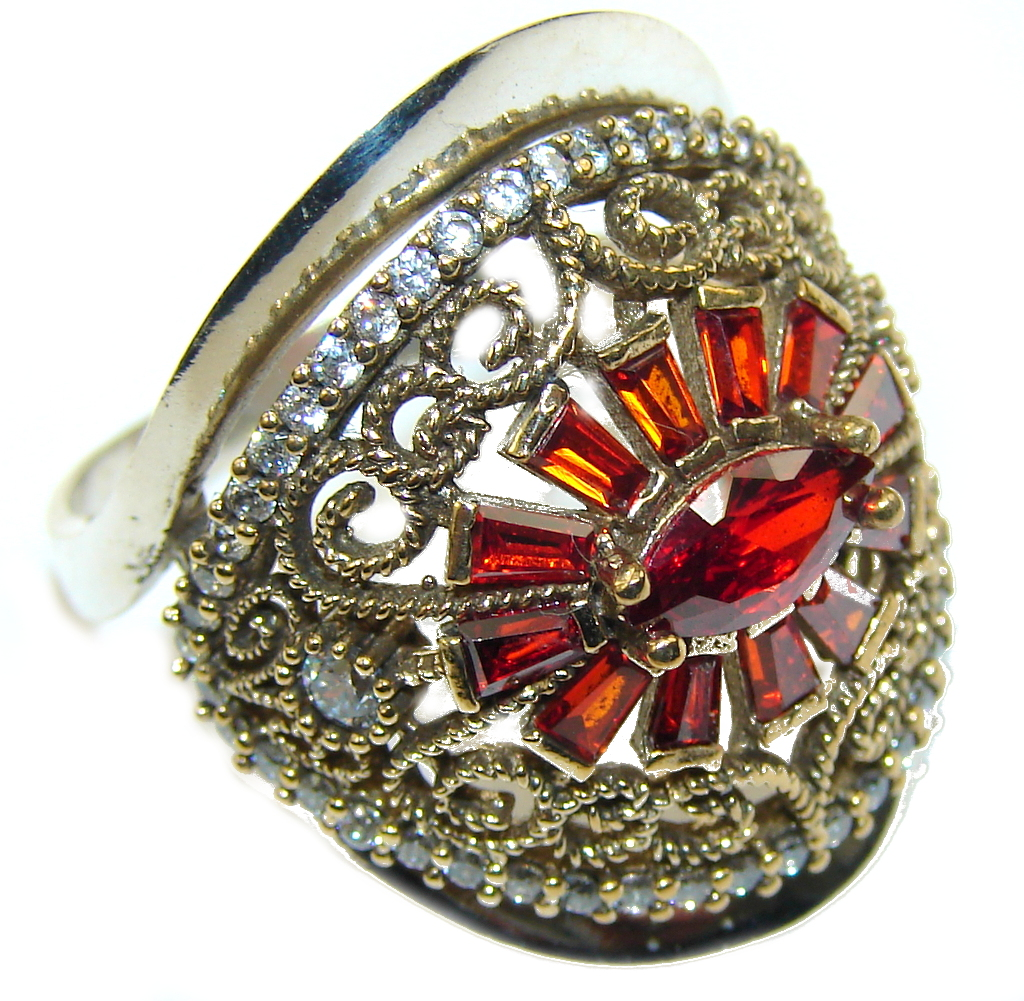 Victorian Style Red Garnet Quartz Sterling Silver Ring