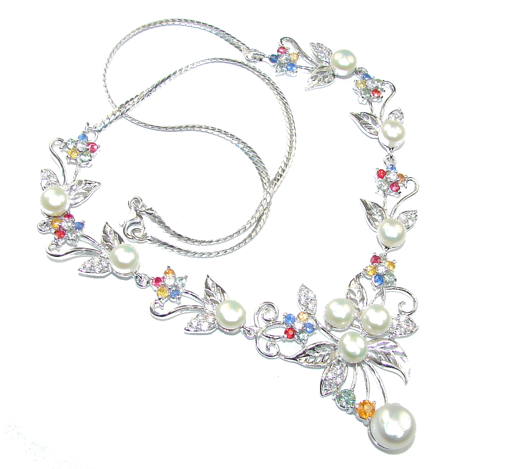Love Attraction! Fresh Water Pearl & Multicolor Sapphire Sterling Silver necklace