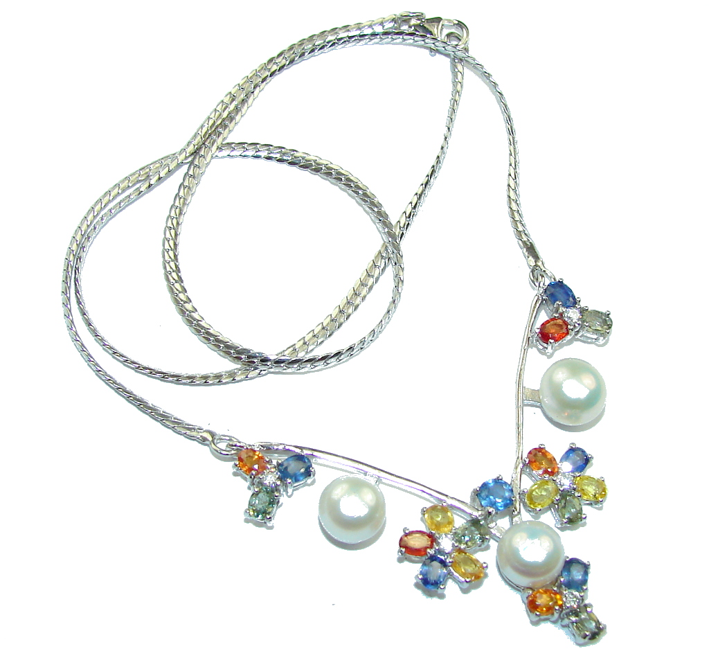 Natural White Pearl & Multicolor Sapphire Sterling Silver necklace
