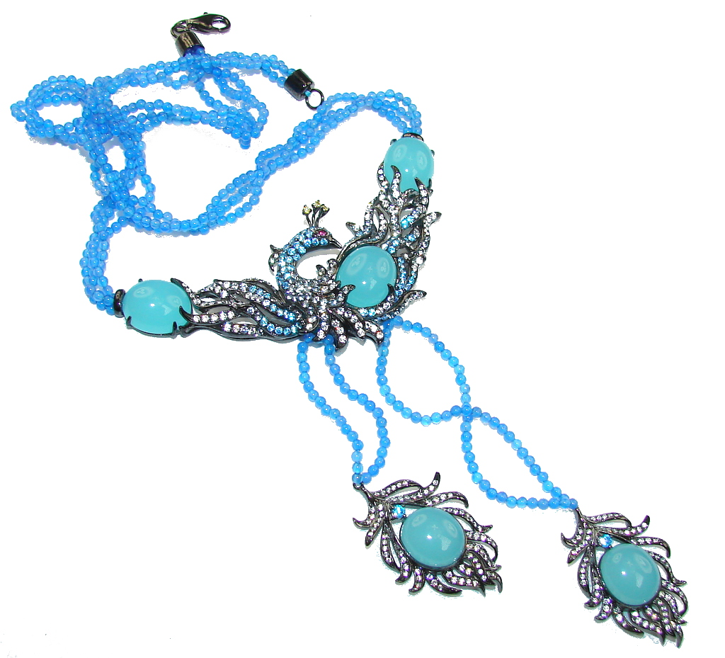 Secret Beauty! Blue Aquamarine & Agate Sterling Silver necklace