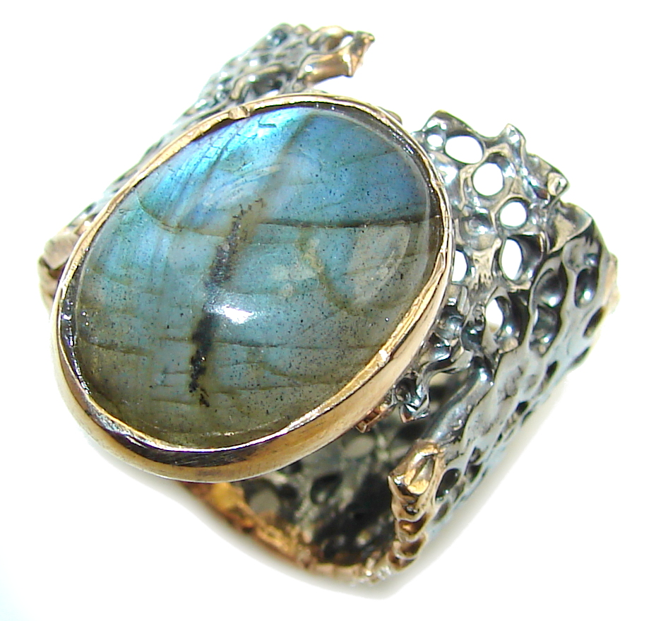 Just Perfect!! AAA Labradorite, Rhodiium Plated, Rose Gold Plated Sterling Silver Ring s. 8