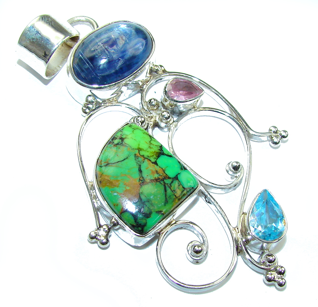 Big! Pale Beauty! Green Turquoise Sterling Silver Pendant