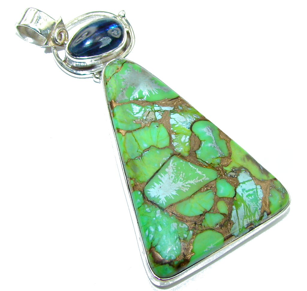 Big! Secret Copper Green Turquoise Sterling Silver Pendant